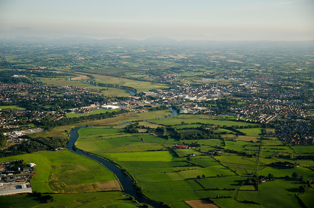 The River Bann running through Portadown with the Mournes away in the background