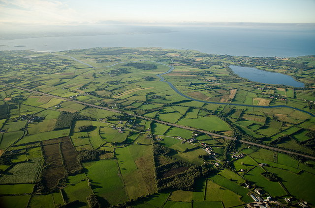 The River Bann and the M1 with Lough Neagh behind