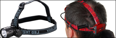 A 3 strap head torch and unit with rear battery pack.