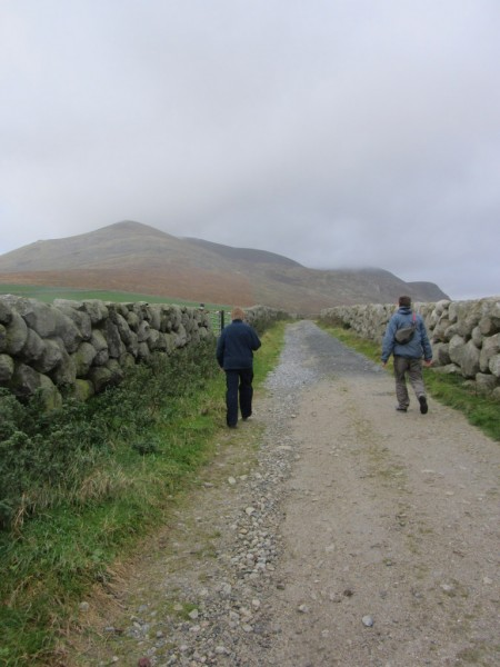 Follow the lane from the car park to where it meets the Mourne Wall