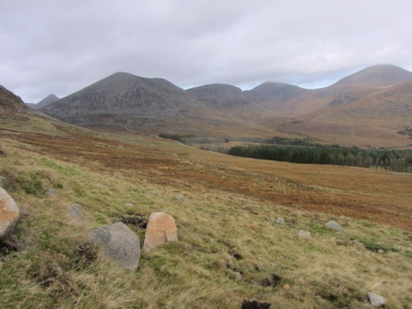 You get some excellent views of Lamagan / Cammedagh and Donard in the distance.