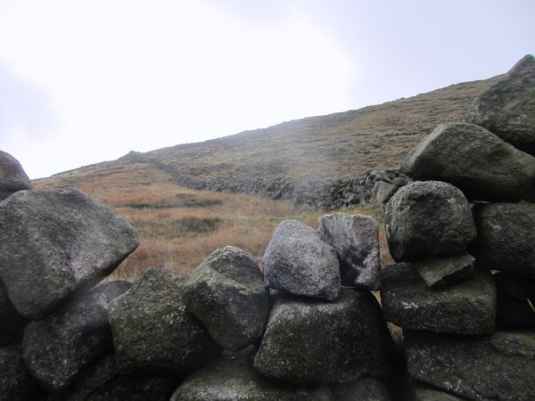 There's a handy break in the Mourne Wall where you can clamber over.