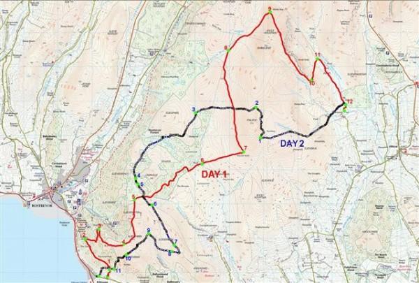 Mourne Mountain Marathon 2014 - The routes