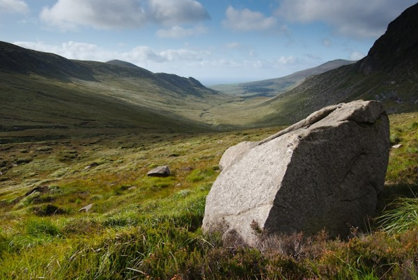 The big boulder at the top of Annalong Valley